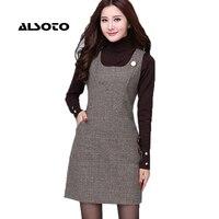 Plus Size 6XL Autumn Winter Floral Dress Women Office Vintage Dresses Long Sleeve Big Size 5XL
