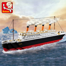 SLUBAN 1021Pcs Titanic Ship Building Blocks Sets Toys Boat Model Kids Gifts Boys Birthday Gift educational toys legoe Compatible цена в Москве и Питере