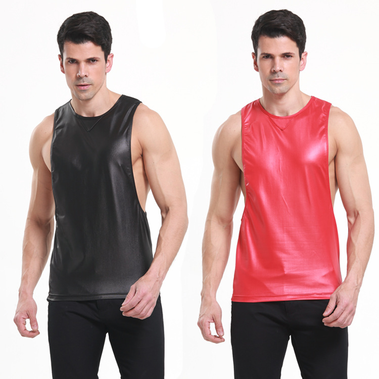 Men 39 s PU leather tank top tees balck red leather sleeveless t shirts camiseta tirantes hombre musculation loose tank tops men XL in Tank Tops from Men 39 s Clothing