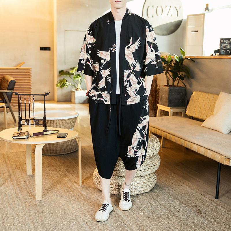 Japanese Streetwear Shirt Shorts Set Tracksuit Men Plus Size Kimono+Cropped Pants Clothes For Men Summer Two Piece Set XXXXXL