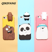 3D Cute Cartoon Bare Bears brothers funny toys soft Silicone phone case