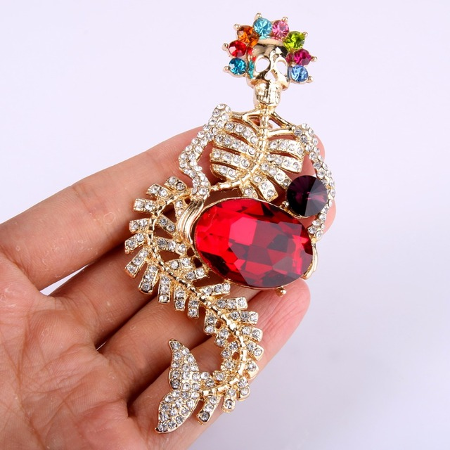 Tuliper Halloween Mermaid Skeletschedel Broche Voor Vrouwen Crystal Pins Partij Sieraden Gift Broche Femme