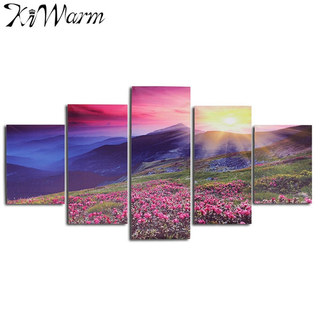 kiwarm 5pcs beautiful flowers sunrise landscape decorative canvas painting for home hotel decor crafts art sets - Violet Hotel Decor