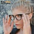 Trioo nuevo negro del ojo de gato mujeres gafas de montura de lente transparente 2017 de la moda femenina gafas de sol eyewear óptico transparente
