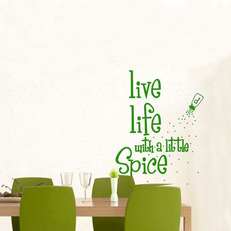 DCTOP Live Life With A Little Spice Bottle Wall Decal Removable Art Home  Decor Kitchen Wall
