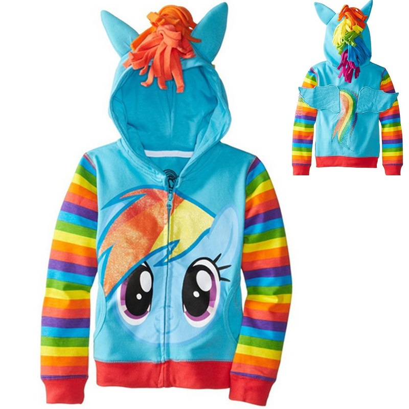 My Little Pony Girls' Rainbow Dash Hoodie,Hot Brand Children's Outerwear,Kids Cotton Coat Spiderman Avengers Sweater for Boys