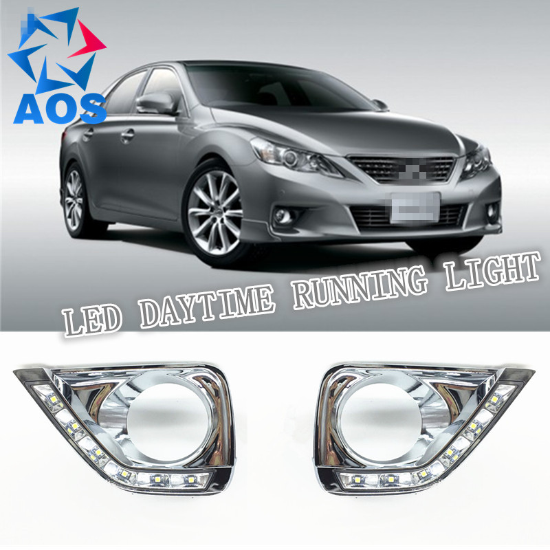 2PCS LED DRL Car daylight Daytime Running Lights for Toyota MarkX Reiz 2012 2013 2014 with Turn Signal lamp Function night lord for toyota reiz grx130 7440 t20 wy21w car led drl