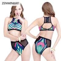 2017 Beach Swim Wear High Neck Swimsuit High Cut Bikini Set High Waist Swimwear Women Push