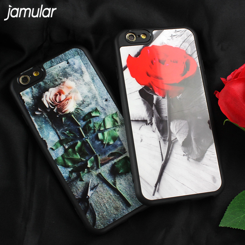 JAMULAR Classical Retro Rose Case For iphone 7 6 6s Plus Coque Glossy Mirror Soft Silicon Cover For iphone 6s 8 Plus Case Covers