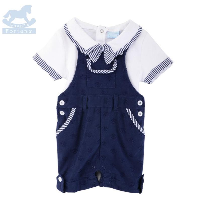 Luvena Fortuna new 2pcs baby children kids 2-Piece Bowtie T-shirt & Range Set H9585 baby clothing bebe comfort products on sale