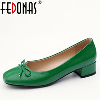 FEDONAS New Sweet Women Low Heeled Basic Pumps Round Toe Butterfly Knot Wedding Party Shoes Woman Genuine Leather New Shoes