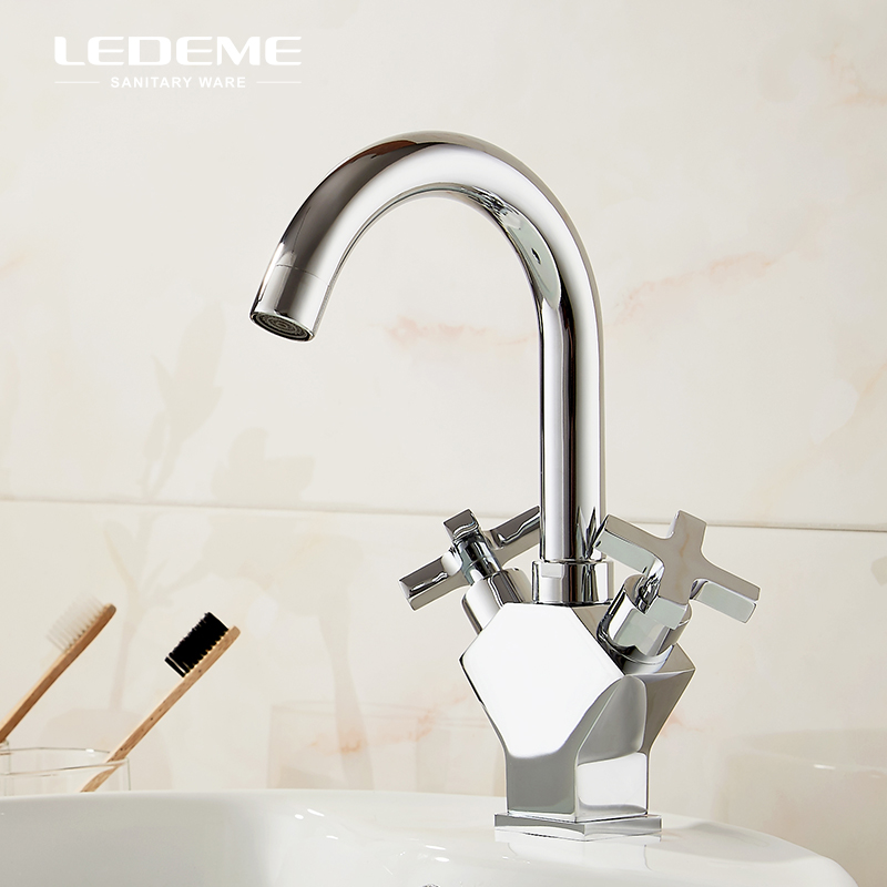 LEDEME double levier robinet de lavabo moderne Chrome poli Unique robinet de lavabo salle de bains lavabo évier mélangeur grue L1084-2