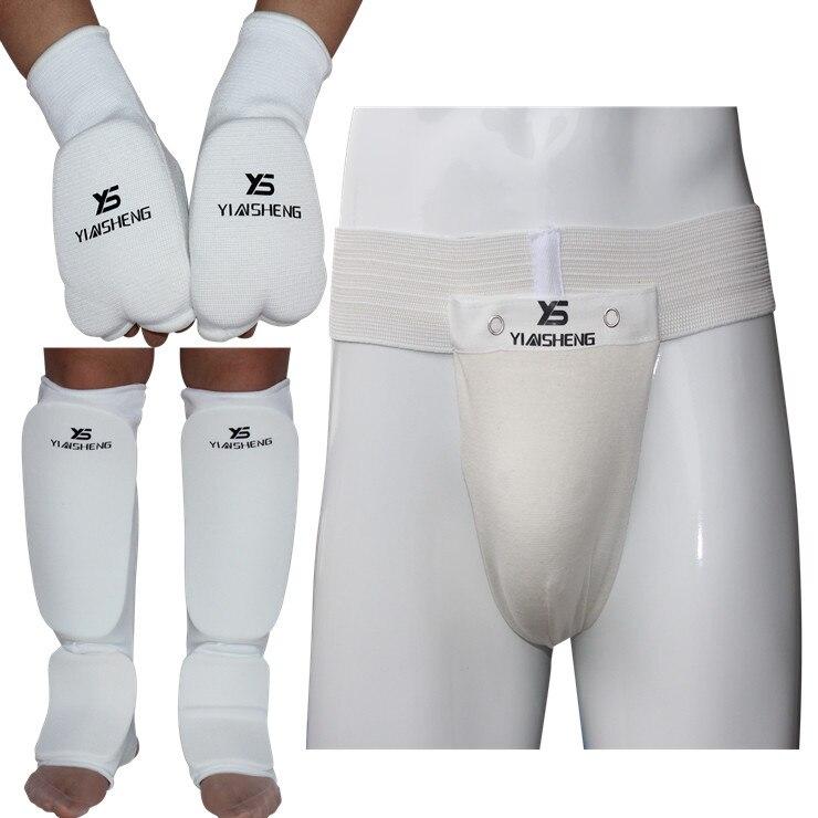 Karate guard three-piece suit Gloves gloves Shin pads Supporter below Taekwondo training gear chest supporter hand guard  цены