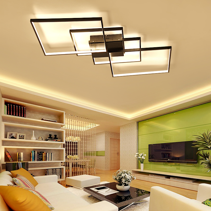 NEO Gleam Black or White Living Room Bedroom Study Room Modern Led Ceiling Chandelier Deco Minimalism Led Chandelier Fixtures black or white rectangle living room bedroom modern led ceiling lights white color square rings study room ceiling lamp fixtures
