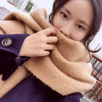 2016 Korean New Winter Wool Cashmere Scarf Fashion Color Shawl Factory Direct Double Warm