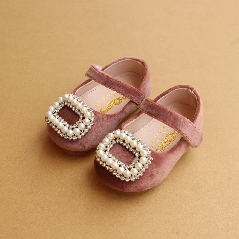 Diamond Pearl Square Buckle Baby Girls Single Shoes Princess Leather Shoes 1-2 Years Toddler Soft Bottom Baby Casual Shoes A1