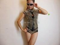 2015 new style star de la mode personnalité bar discothèque rivets PU cuir une pièce costumes femme dj chanteur performance body