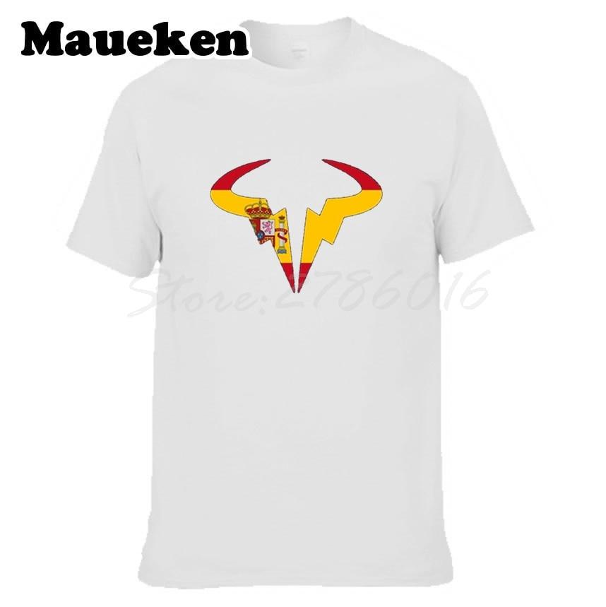 Mens matador Rafael Nadal Tennising Player Logo with spain flag bullfightes logo O-neck T Shirt 100% cotton W0519011
