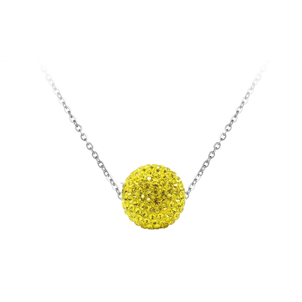 18K Yellow Gold Plated CZ Crystal Disco Ball Pendant Necklace