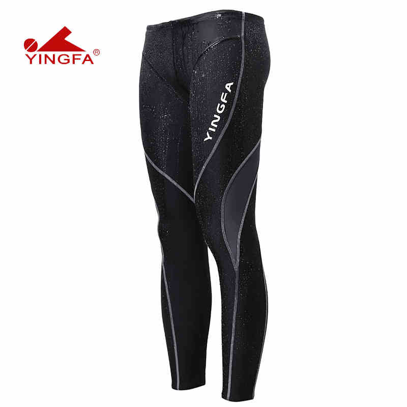 Yingfa Sharkskin Racing Training Swimwear Full Leg Swim Pants Tights Chlorine Resistant Training Mens Long Swimming Trunks