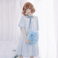 Endless Summer Loose Short Chiffon Dress Sweet Short Bat Wing Sleeve Casual Mori Girl Dress by Dolly Delly