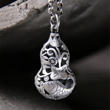100% Real 990 Pure Silver Jewelry Unique Pendants for Women Men Children Accessories Hollow Gourd Pendant for Silver Necklace 22 925 pure silver christmas bells silver pendants