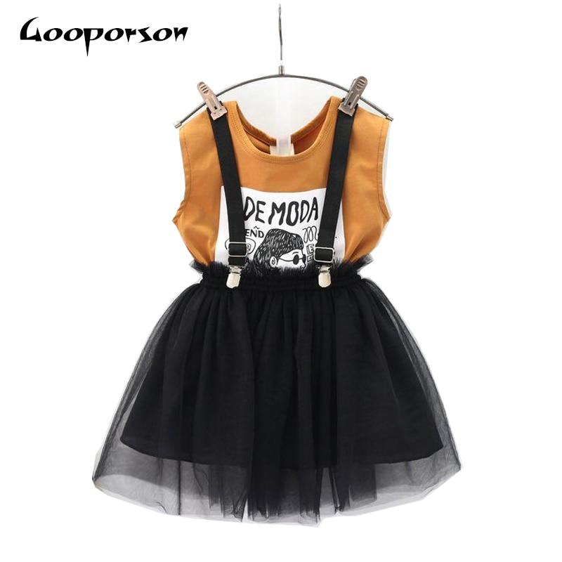 dd06b6be3d24 Girls Clothes Set Summer Brown Shirt   Overall 2 pcs Children ...