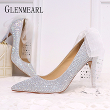 Women Wedding Shoes High Heels Luxury Design Pumps Rhinestone Pointed Toe Spring Summer Brand Cinderella  Party DE
