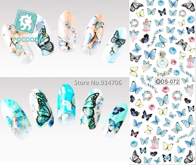 Rocooart DS072 2018 Nail Design Water Transfer Nails Art Sticker Color Butterfly Nail Wraps Sticker Watermark Fingernails Decal ds336 new design water transfer nails art sticker harajuku elements blue red shrimp shell nail wraps sticker manicura decal