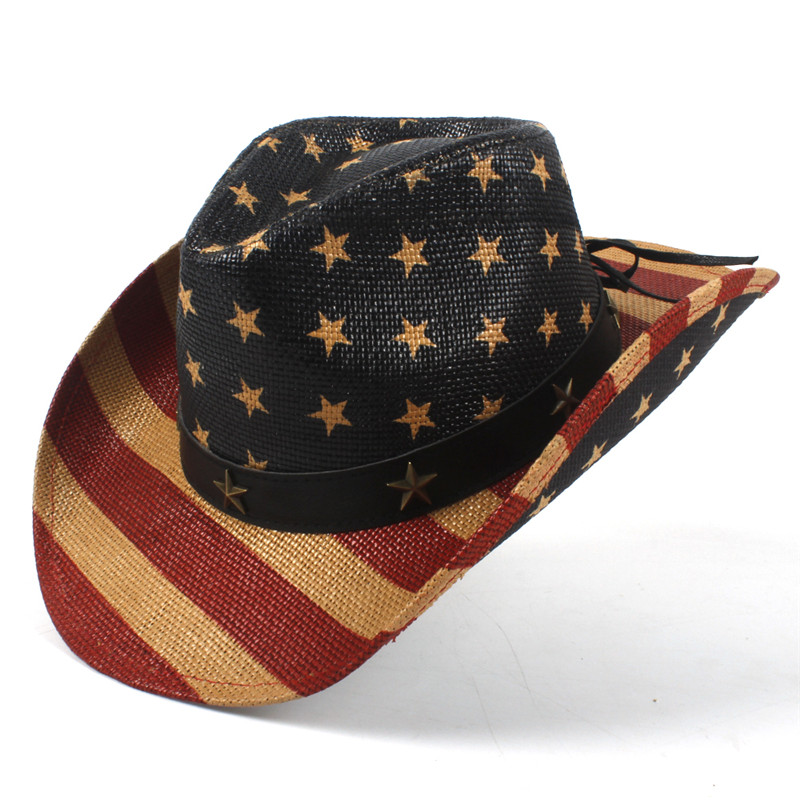 USA American Flag Straw Cowboy Hat For Women Men Western Cowgirl Sombrero  Hombre Jazz Caps Size 58CM-in Cowboy Hats from Apparel Accessories on ... 7a62a920e2c7