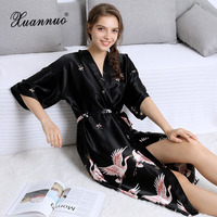 Women's Robe Silk Sexy Bridal Plus Size Robes Dress Mid Sleeve Print Wedding Robes for Bridesmaids and Bride Pajama Morning Gown