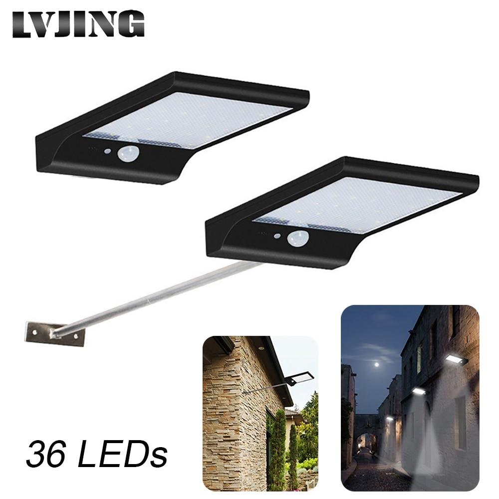 LVJING 36LED Solar Light PIR Motion Sensor Solar Powered Street Lamps For Garden Outdoor Lighting Waterproof
