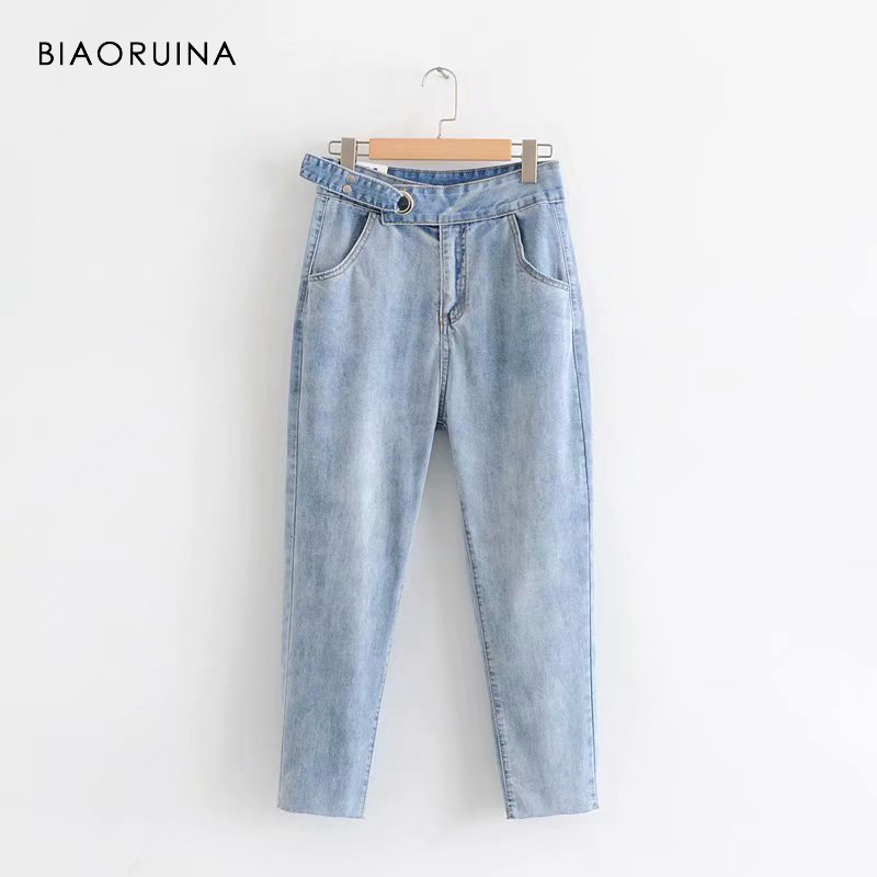 BIAORUINA Women Fashion Washing Bleached Denim   Jeans   with Belt Female High Waist Casual All-match Pencil   Jeans   Ankle Length