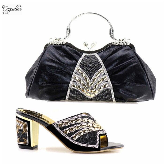 Новое поступление черные сандалии обувь и вечером сцепления комплект с сумкой последние туфли-лодочки на высоком каблуке с сумочкой 9658-3, вы...
