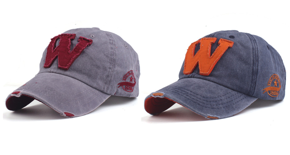 Embroidered Letter W Dad Hat - Gray Cap and Blue Cap Options