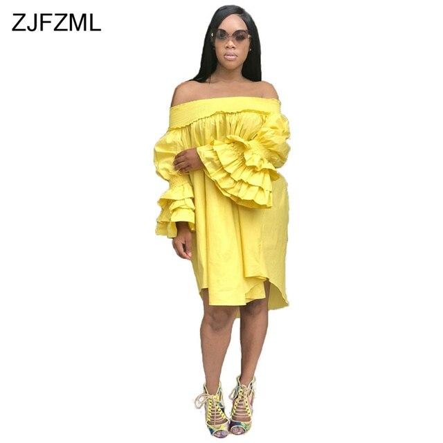 4cf6eb041c43 ZJFZML Butterfly Sleeve Summer Loose Dress Women White Slash Neck Off The  Shoulder Mini Robe Casual