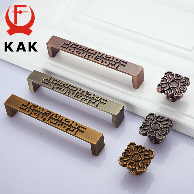KAK Zinc Alloy Antique Bronze Cabinet Handles Pulls Vintage Wardrobe Door  Handles Drawer Knobs Furniture Handle