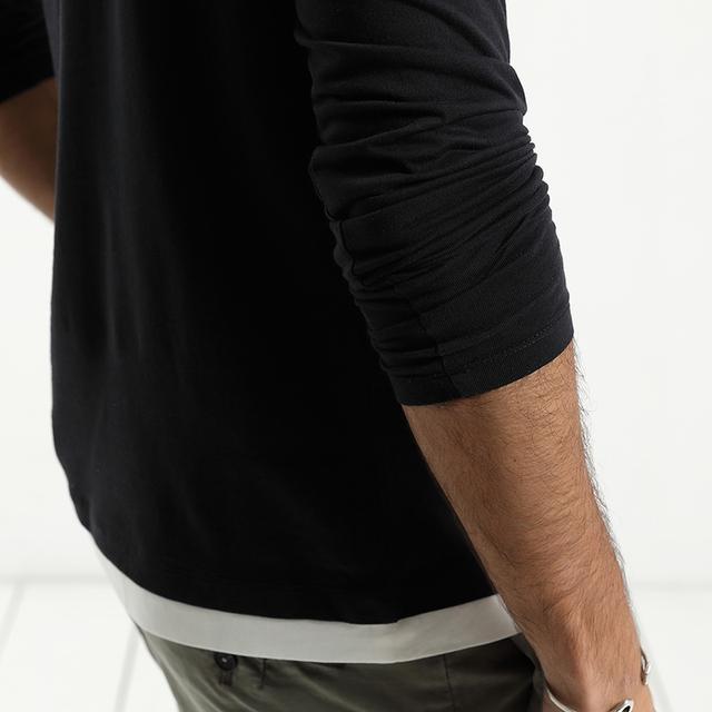 Men's Long Sleeve T-Shirt Fake Double Layered 100% Cotton