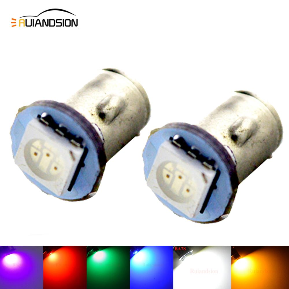 2X BA7S Instrument LED Light LED 5050 DC 12V SMD 6V DC Auto MOTOR Replacement HID Green White Red Blue Yellow Pink