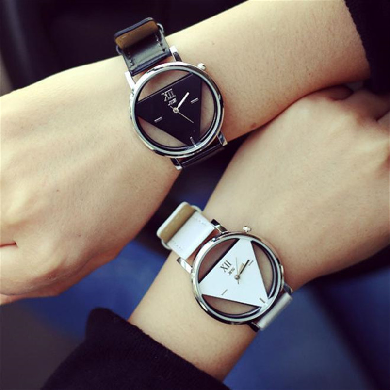 Fashion Mens Women Watch Leather Band Unique Hollowed-out Triangular Dial Roma vintage Quartz Wrist watches Relogio Feminino miracle moment fashion stylelish mens womens unique hollowed out triangular dial black fashion watch ag3