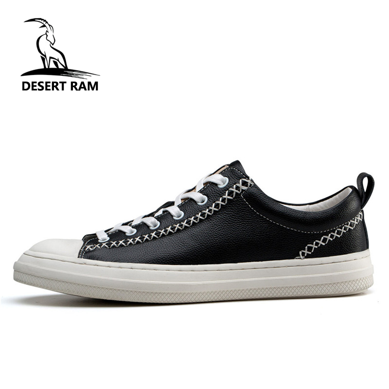 DESERT RAM Brand High Quality Leather Canvas Shoes Men Casual Classic Sneakers Top Male Footwear Black White Lace Up Mens Shoe desert ram brand new ankle bot lace up men s boots leather boots for men shoes casual boot male winter black white sneakers shoe