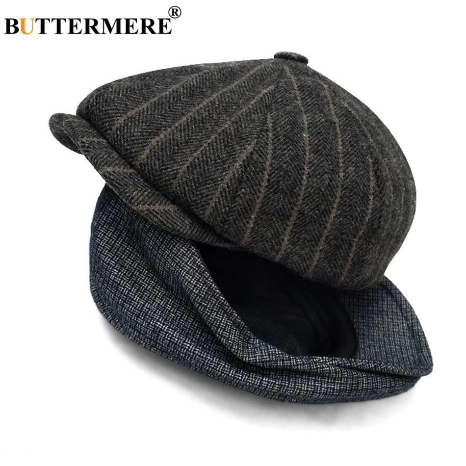 Buttermere Wollen Achthoekige Caps Mannen Tweed Visgraat Acht Stuk Cap Mannelijke Vintage Herfst Klassieke Britse Schilders Hoeden Baretten