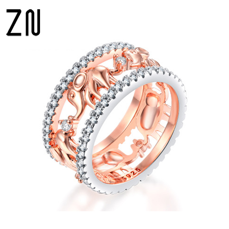 ZN Pure Copper Antique Gold Color Lucky 3D Elephant Ring Romantic Zircon Ring For Man/Woman Jewelry