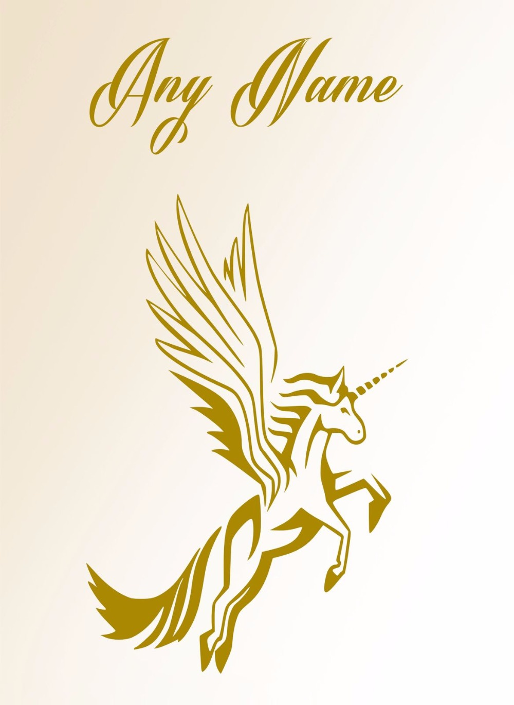 Personalised Unicorn With Wings Vinyl wall sticker Any Name Kids Art ...