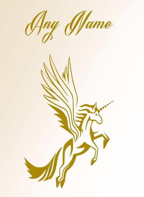 Personalised Unicorn With Wings Vinyl Wall Sticker Any Name Kids Art Decal 60cmx120cm