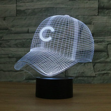 5579813568e 3D LED Chicago Cubs Baseball Hat Night Light Touch Switch Desk Lamp USB  Table lampara Color