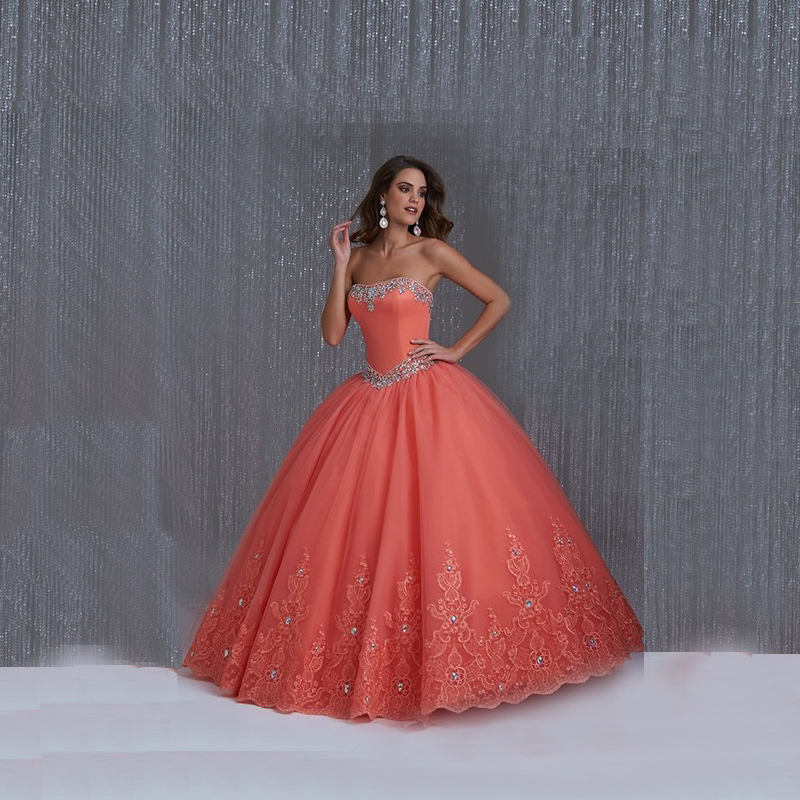 2015 Fashionable Quinceanera Gowns Strapless Rhinestone Applique Vestido de 15 Anos Debutante Dresses - Lowime Wedding Factory store