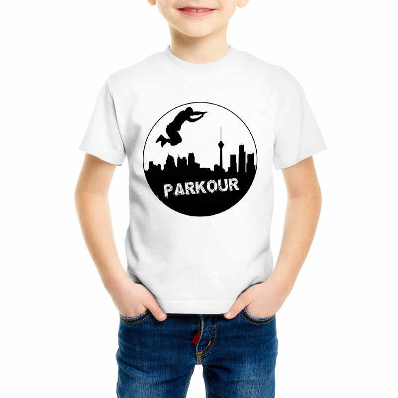 Funny Kids Parkour Runner Girl T-Shirt Parkour Free Running Heartbeat Children's T Shirt Style Boy Brand Printed Tee shirt Z10-3
