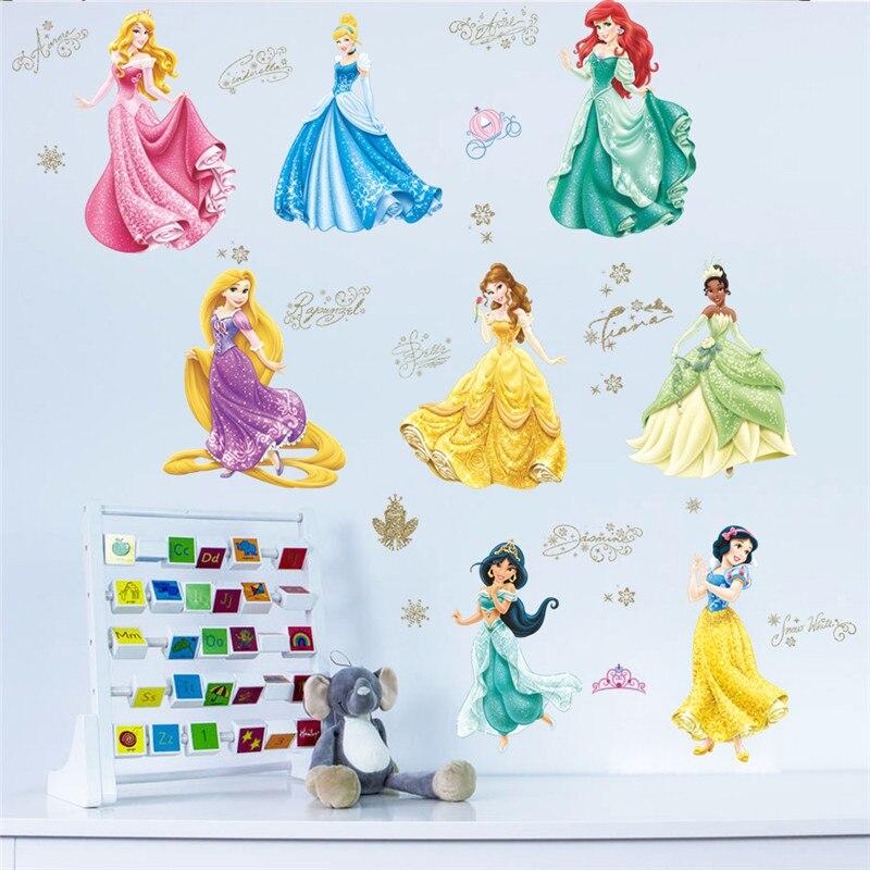 Сказка 8 принцессы для маленьких детей Детская спальня девушки Декоративные наклейки росписи Home Decor коробки плакат дети подарок обои