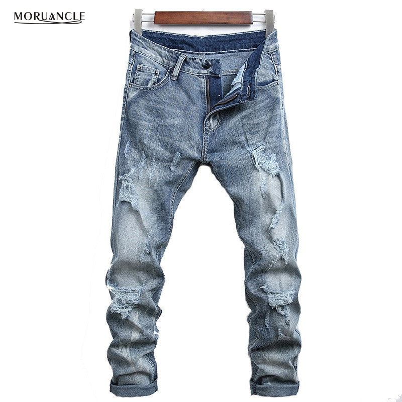 Newsosoo Fashion Mens Ripped Jeans Pants Slim Fit Distressed Denim Trousers For Male Washed Straight Stretch Size 28-38